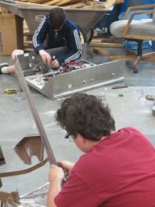 taking apart bots Kaden and Chris